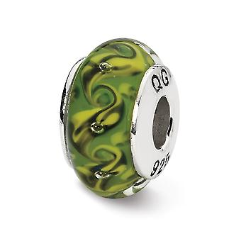 925 Sterling Silver Polerade reflektioner Grön Gul Virvla Handblåst Glas Pärla Charm Hänge Halsband Smycken Gåvor f