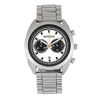 Breed Racer Chronograph Bracelet Watch w/Date - Silver/Black