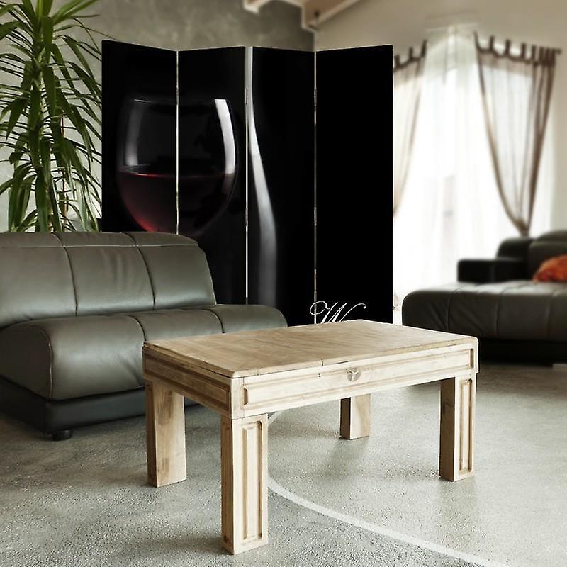 Diviseur de chambre, 4 panneaux, toile, vin