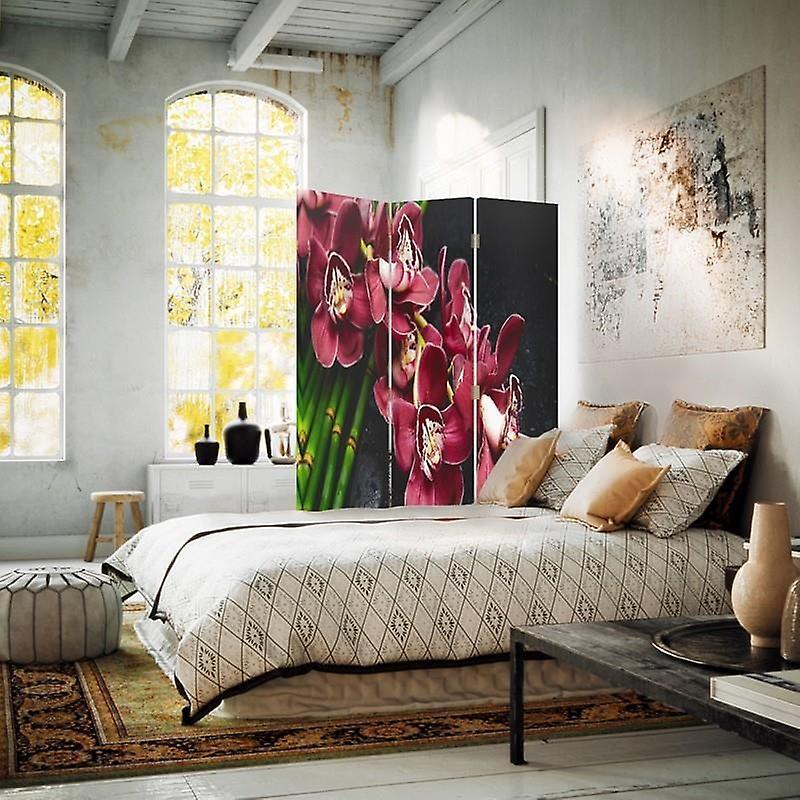 Diviseur de chambre, 3 panneaux, double-sided, toile, orchidée marron