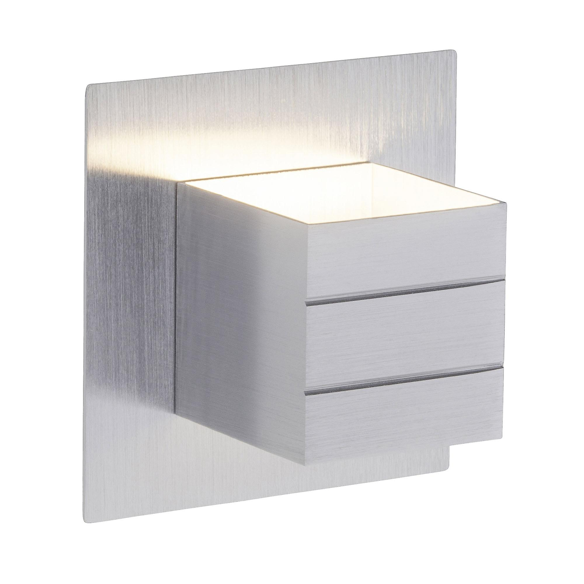 BRILLIANT Lampe FIXED LED Wandleuchte Schalter alu I Mit Kippschalter I Energiesparend und langlebig durch LED-Einsatz
