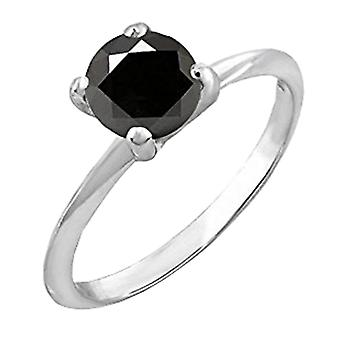 Dazzlingrock Collection 0.25 Carat (ctw) 10K Black Diamond Bridal Engagement Solitaire Ring 1/4 CT, White Gold