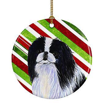 Japonés Chin Candy Cane vacaciones Navidad adorno cerámica SS4536