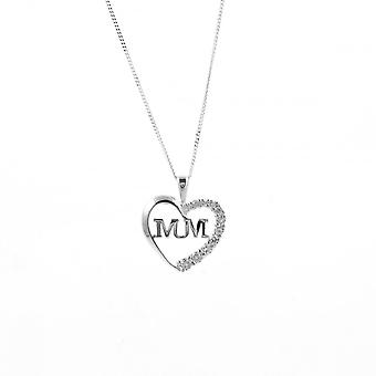 Eternity Sterling Silver Cubic Zirconia Set 'Mum' Pendant And 18'' Chain