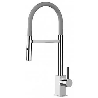 Single-lever Kitchen Sink Mixer With Grey Spout And 2 Jets Shower - 187