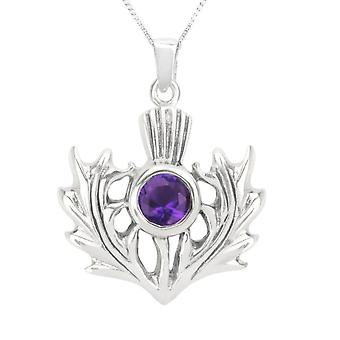 "Scottish Thistle Flower Of Scotland Necklace Pendant - Amethyst Colour Stone - Includes 20"" Chain"