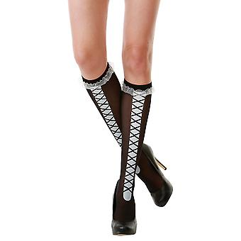 Black Laced Knee High Costume Tights