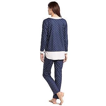 Feraud 3191019-14706 kvinder ' s høj klasse blå minimal print bomuld pyjamas sæt