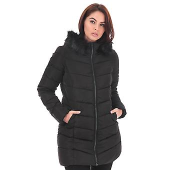 Womens Only Minea Quilted Hooded Coat In Black