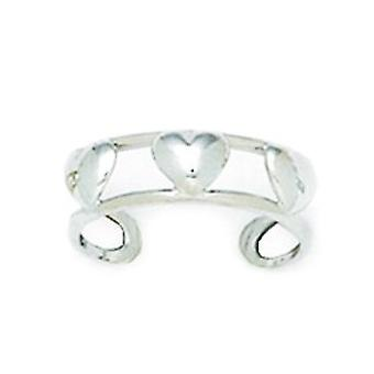 14k White Gold Adjustable Double Row With Love Hearts Body Jewelry Toe Ring Jewelry Gifts for Women