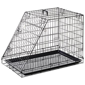 PawHut Metal Trapeze Collapsible Dog Cage Rust-Resistant Transport Box Carrier w/ Handle Removable Tray 65x58cm