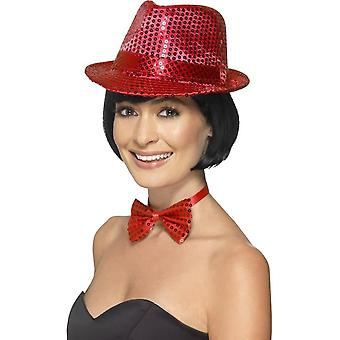 Smiffy's Sequin Trilby Hat, Red