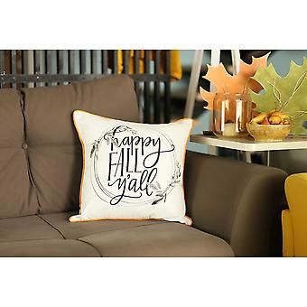 "18""x18"" Thanksgiving Quote Printed Decorative Throw Pillow Cover"