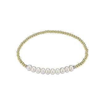 Adriana Rubber Silver Bracelet 925 gold plated 10 freshwater white 5-6mm Adriana A128