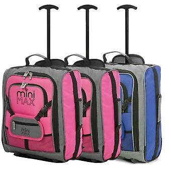Minimax (45x35x20cm) childrens luggage carry on suitcase with backpack and pouch (x2 pink + x1 blue)