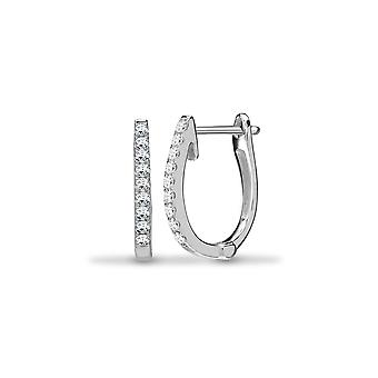 Jewelco London Solid 18ct White Gold Pave Set Round G SI1 0.22ct Diamond Eternity Oval Huggie Hoop Earrings