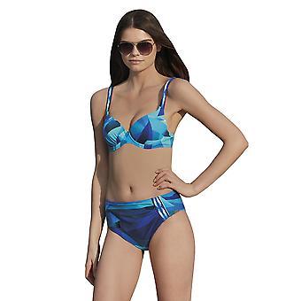 Sunflair 21174-26 Women's Modern Cubes Blue Geometric Print Underwired Soft Cup Bikini Set