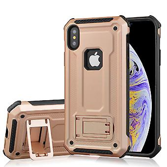 Dla iPhone XS Max Cover, Shockproof Thin Strong Armour Kickstand Case, Rose Gold
