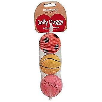 Rosewood Jolly Doggy Rubber Palle Sportive Giocattoli, Pack di 3
