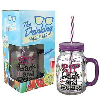 Lesser & Pavey Drinking Mason Jar With Straw LP27505