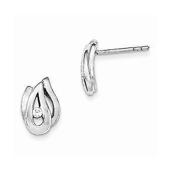 925 Sterling Argent Poli et Brossé CZ Cubic Zirconia Simulated Diamond Post Boucles d'oreilles Bijoux Bijoux pour les femmes