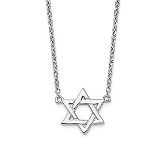 925 Sterling Silver Rhodium plated Religious Judaica Star of David With 1inch Ext Necklace 16 Inch Jewelry Gifts for Wom