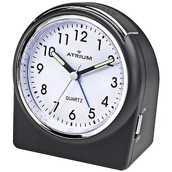 ATRIUM Alarm Clock Analog Quartz Black A520-7 without ticking large numbers bell signal