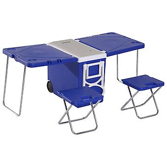Outsunny 28L Multi-Function Cooler Cool Box Freezer Folding Garden Picnic Camping Table Chair Set Portable Foldable Fishing Chair Stool & Table