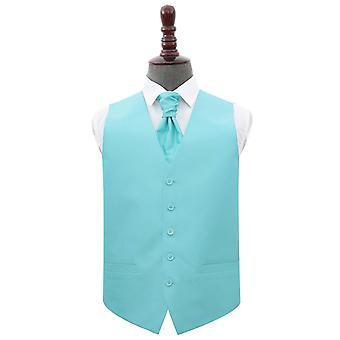 Tiffany green Plain Shantung Hochzeit Weste & Cravat Set