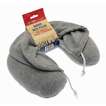 Globetrek International Hooded Travel Neck Pillow, Grey