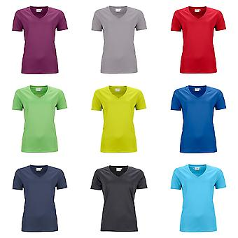 James And Nicholson Womens/Ladies Active V Neck T-Shirt