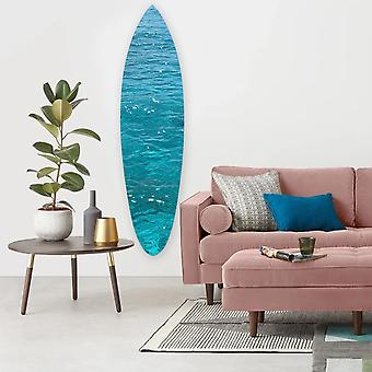 "18"" x 1"" x 76"" Wood, Blue, Ocean Surfboard Wall Art"