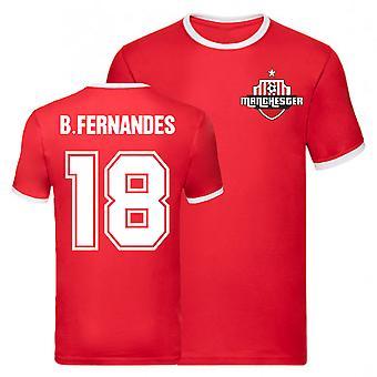Bruno Fernandes Manchester United Ringer Tee (Rød)