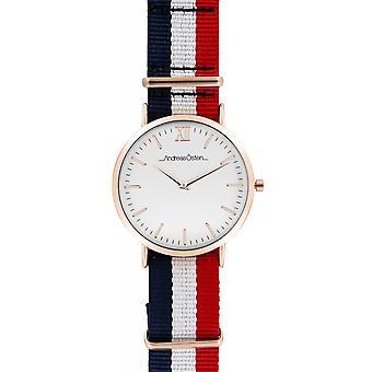 Watch Andreas Osten AO-65 - Blue Nylon Watch Bo tier Dor Rose Mixed