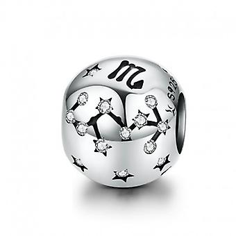 Sterling Silver Charm Zodiac Sign Scorpio With Zirconia - 6182