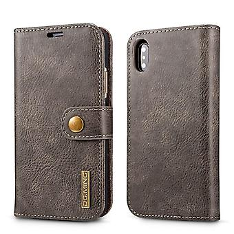 Mobile case iPhone X/XS with magnetic shell - Authentic leather