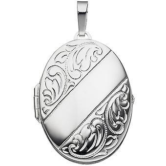 Damen Medaillon oval für 2 Fotos 925 Sterling Silber Anhänger zum Öffnen