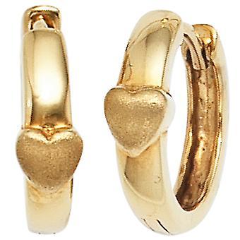 Kids hoop earrings heart 333 gold yellow gold matted earrings kids earrings