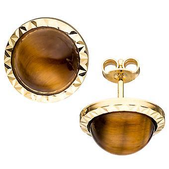 Earrings approximately 585 Gold Yellow Gold 2 Tiger eye Brown earrings gold earrings