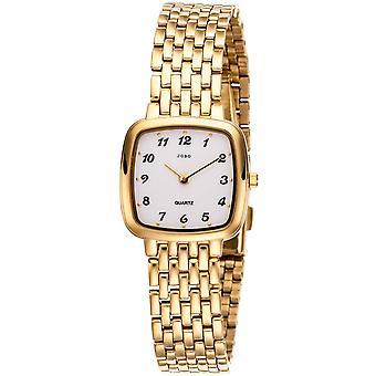JOBO muñeca reloj de cuarzo analógico acero inoxidable oro plateado reloj de las mujeres