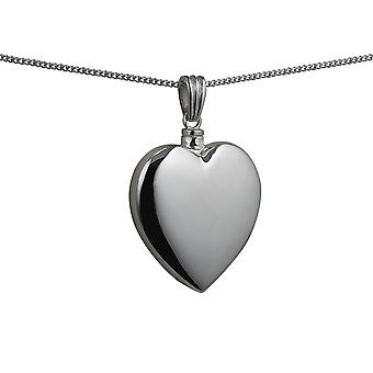Silver 30x28mm handmade plain Heart shaped Memorial Locket with a curb Chain 24 inches