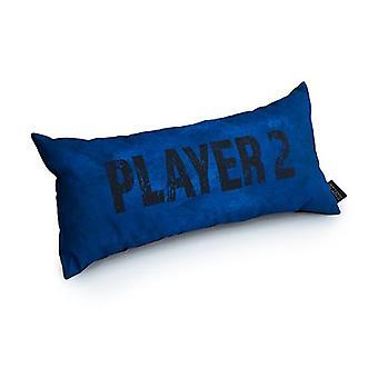 Game Over Player 2 Slogan - Azul | Almofada para Jogos | Migalha de espuma enchida | Resistente à água | Roupa de cama e sofá | Home D cor