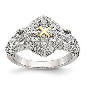 925 Sterling Silver With 14k Yellow Diamond Ring Jewelry Gifts for Women - Ring Size: 6 to 8