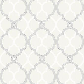 Logan Geometric Wallpaper White / Silver Fine Decor FD41580
