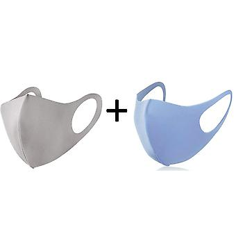 2 Pack Face Mask, Washable Reusable  Mouth Guard, Blue and Beige/Light Grey