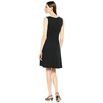 Marke - Lark & Ro Frauen's ärmellose breite Scoop Hals Fit und Flare Kleid, schwarz, Medium
