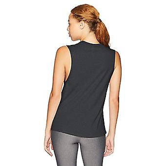 Brand - Core 10 Women's Relaxed Fit Cotton Blend Gym Muscle Sleeveless Tank, Black, X-Small
