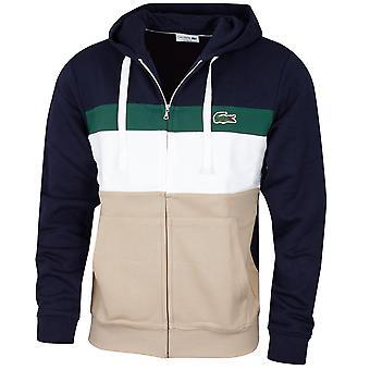 Lacoste Mens 2020 Colorblock Fleece Zippered Contraste Drawstring Hoodie