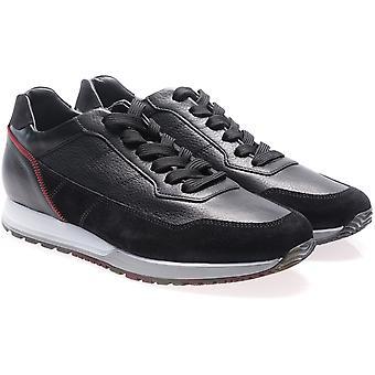 Hogan men's sneakers em couro preto e camurça