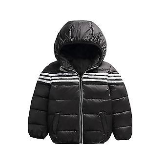 Kids Unisex ملابس خارجية أنيقة عالية لمعان مقنع أسفل سترة الشتاء النفخ - أسود